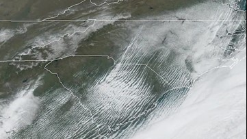 Satellite loop shows North Carolina snow