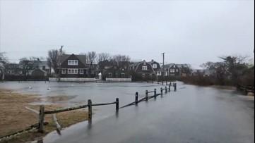 Floodwaters bury roads in Massachusetts