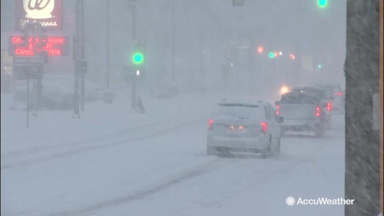 Drivers battle slick conditions amid heavy snowfall