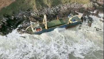 After about 1.5 years, drifting ship becomes beached