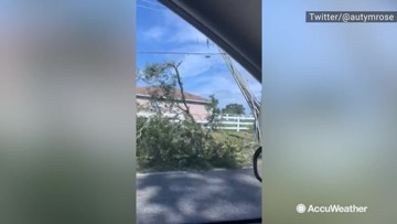 Possible tornado from the outer bands of Nestor causes damage