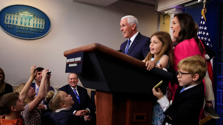 Sarah Sanders holds 1st press briefing since March 11, for kids