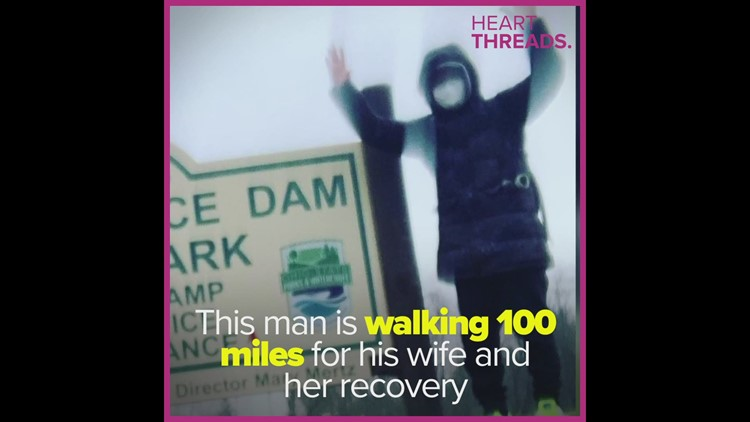 Man walks 100 miles for ill wife