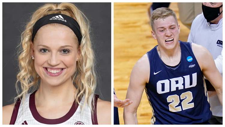 Oral Roberts forward, Texas A&M center dating, playing in Sweet 16
