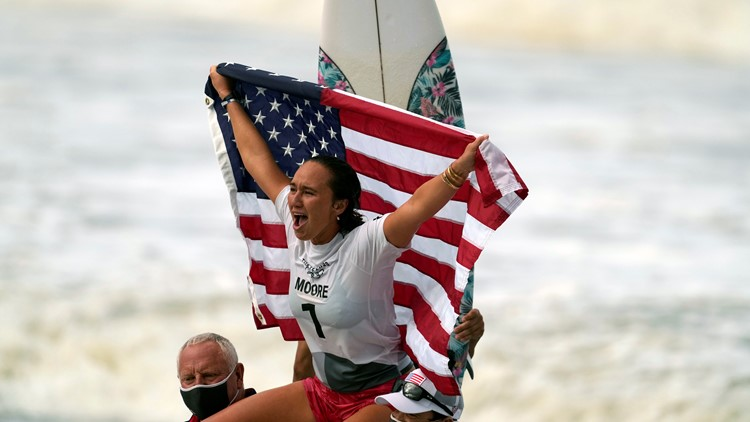 American Carissa Moore wins first-ever women's Olympic surfing gold