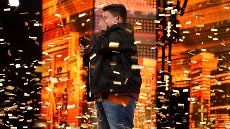Singer Luke Islam celebrating AGT golden buzzer