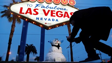 Snowman pops up in Vegas as city sees rare winter weather