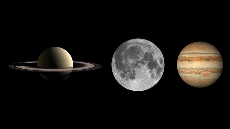 Saturn Moon and Jupiter