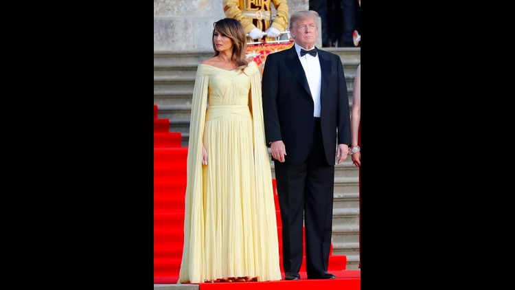 Melania Trump Stuns In Sweeping Grecian Goddess J Mendel Gown For