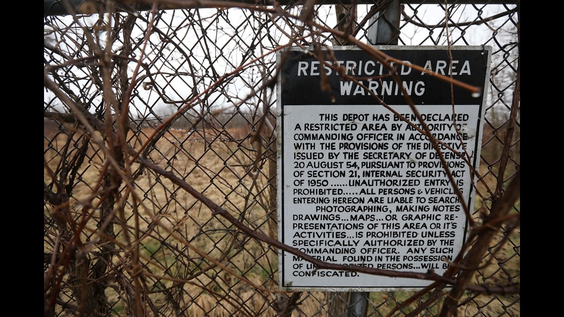 93b53920e A restricted area warning sign is found along the edge of the Seneca Army  Depot property. The sign states making any likeness of the depot is  prohibited.