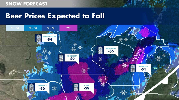 "Busch beer provides a ""snowfall map"" to forecast the drop in beer prices, thanks to a snow-related rebate."