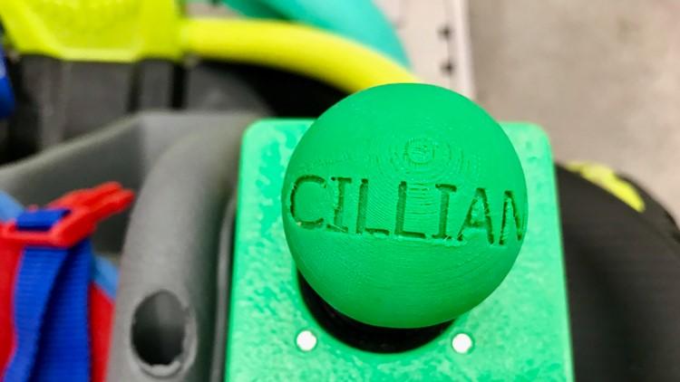 Custom joystick designed for Cillian Jackson by the Farmington High School Robotics Team and produced on a 3D printer.