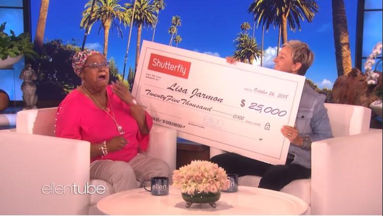 Lisa Jarmon on Ellen with check_1540592648722.JPG.jpg