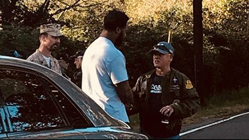 Roadside chat between Seahawks player and veterans brings military wife to tears