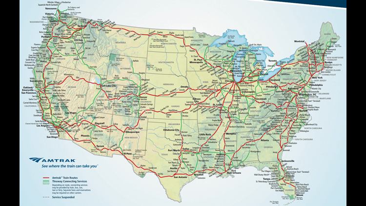 The current Amtrak national route map, courtesy of Amtrak.