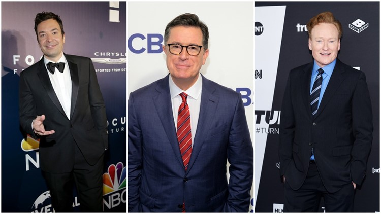 Colbert, Fallon and Conan join forces in joint monologue against Trump