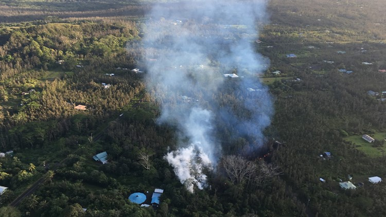An eruption has commenced in the Leilani Estates subdivision in the lower East Rift Zone of Kīlauea Volcano. White, hot vapor and blue fume emanated from an area of cracking in the eastern part of the subdivision.