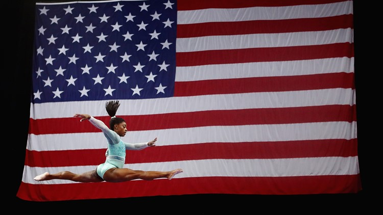 Give her all the gold! Simone Biles becomes first woman since Dominique Dawes in 1994 to sweep the titles at the U.S. Gymnastics Championships.