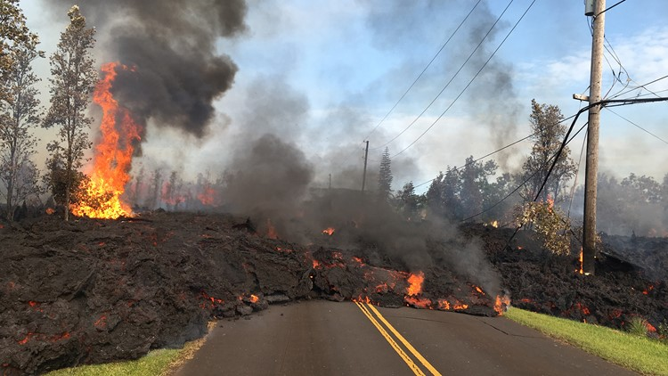 Lava from fissure 7 slowly advanced to the northeast on Hookapu Street in Leilani Estates subdivision on Kīlauea Volcano's lower East Rift Zone on Saturday May 5, 2018.