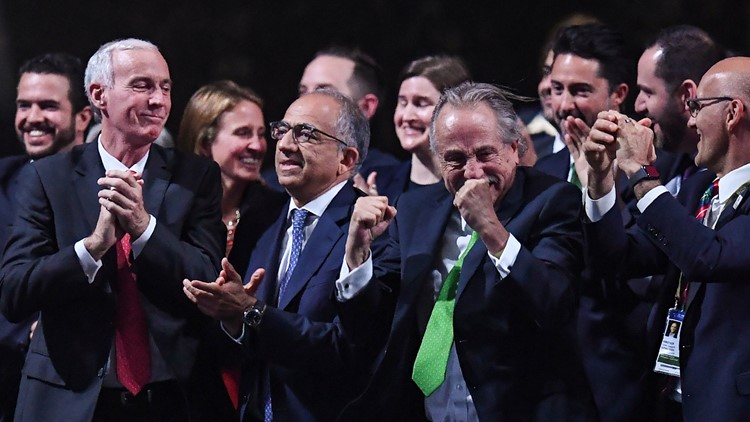 The United 2026 bid (Canada-Mexico-US) officials react following the announcement that the United bid will host the 2026 World Cup during the 68th FIFA Congress at the Expocentre in Moscow on June 13, 2018.