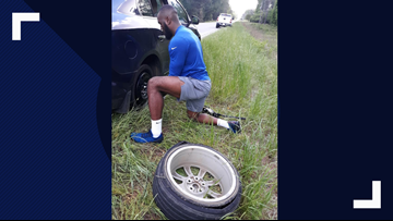 She had a flat tire in South Carolina. An NFL player pulled over to change it.