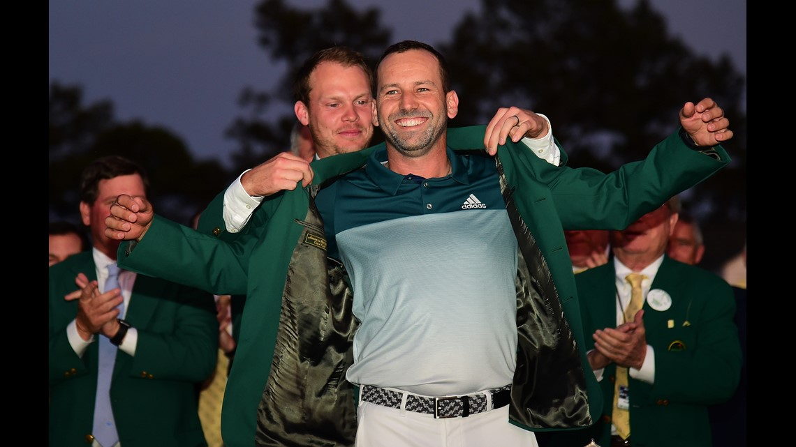 6c919d05 AUGUSTA, GA - Danny Willett of England presents Sergio Garcia of Spain with  the Green Jacket after Garcia won the 2017 Masters on April 9, 2017.