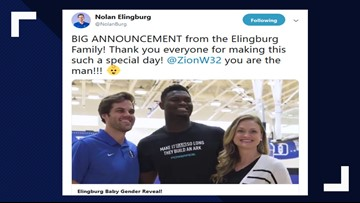 Zion Williamson's One Handed Dunk Reveals Couple's Baby Gender