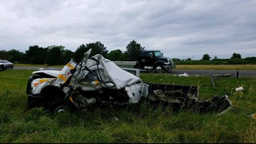 Thruway workers escape injury after vehicle hit by tractor trailer
