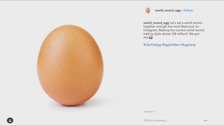 World Record Egg on Instagram