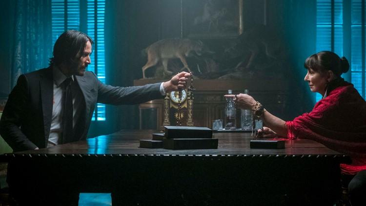 John Wick (Keanu Reeves) and The Director (Anjelica Huston) n JOHN WICK: CHAPTER 3 - PARABELLUM