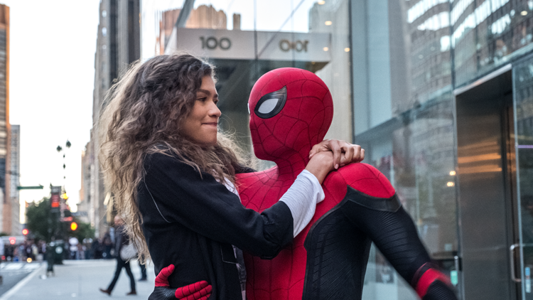 MJ (Zendaya) catches a ride from Spider-Man in Columbia Pictures' SPIDER-MAN: ™ FAR FROM HOME.