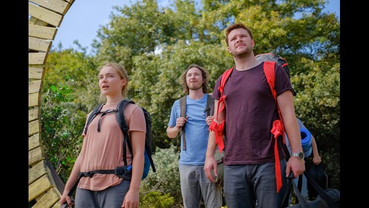 Florence Pugh, Vilhelm Blomgren, Jack Reynor in Midsommar, an A24 film