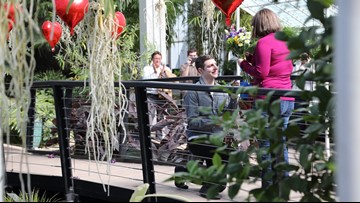 Man surprises girlfriend with proposal inside Botanical Gardens