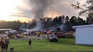 Multiple fire departments respond to fire at Draper Trucking, LLC in Holland