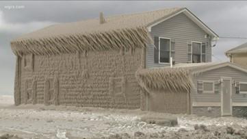 Homes Encased In Ice At Hoover Beach