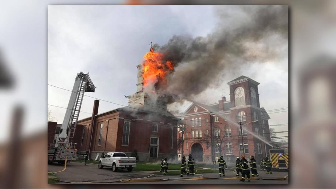 fire burns church steeple in fredonia