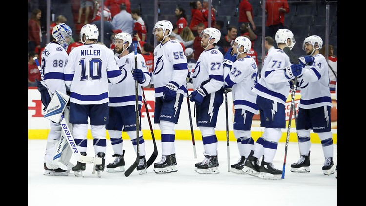 Tampa Bay beat Washington 4-2 Tuesday night in Washington to cut the Caps lead to two games to one in their Eastern Conference final series.