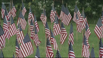 Flags Outside Of Red cross Represent Victims
