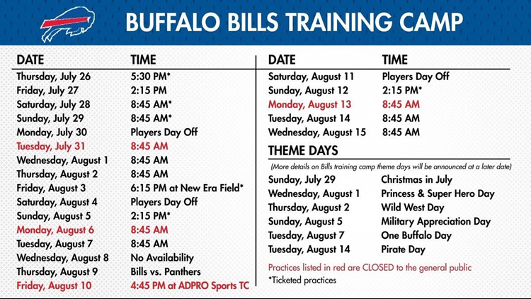 bills training schedule