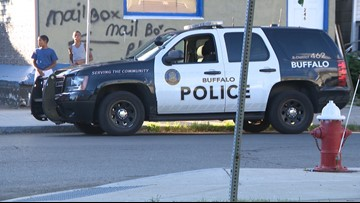 Buffalo Police patrol car side swiped