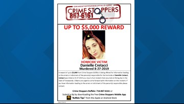 $5,000 reward offered for information leading to arrest of suspect who killed Danielle Cretacci