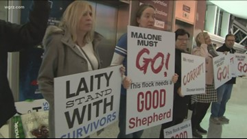 Bishop Malone returns to Buffalo, avoids protesters at airport