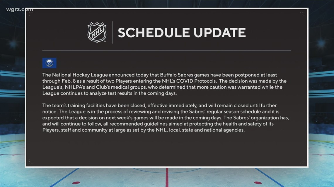 Schedule postponed through February 8th for Sabres
