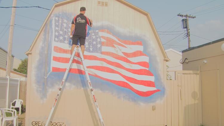 Good Neighbors: American flag mural for Ken-Ton Elks