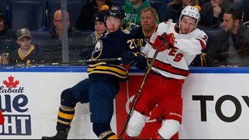 Sabres lose 6th straight; Hamilton lifts Carolina in overtime