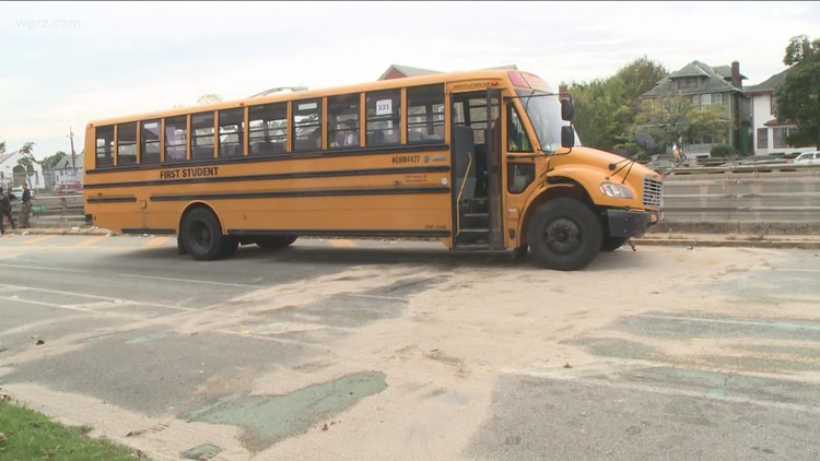One person injured after car ran red light and hit a Buffalo Public Schools bus