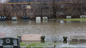 Flooding at St. Adalbert's Cemetery concerns families