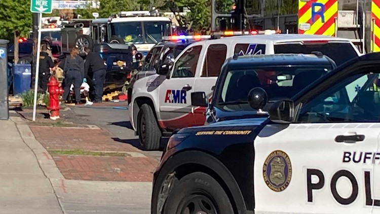Rollover crash closes section of Allen Street downtown