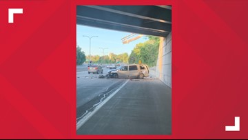 Vehicle drops down onto 33 Eastbound
