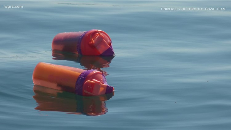 See orange bottles floating in Lake Ontario? Don't touch them — they're part of a 'tagging trash' research project